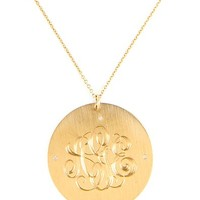 "Classic 1 1/4"" Monogram Charm Disc with 4 Diamonds by Emily & Ashley 