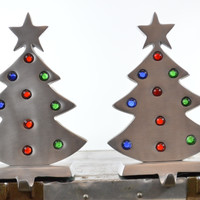 Christmas Tree Stocking Holder Set Brushed Metal with Glass Ornament Accents