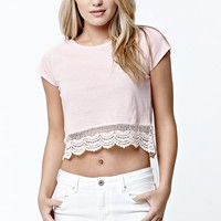 LunaChix Short Sleeve Crochet Trim Cropped Top - Womens Tee - Peach
