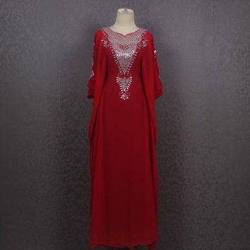 Maxi Kaftan Gowns Dresses, Very Fancy Sequin Caftan Dress, Red Moroccan Dubai Abaya Maxi Caftan Dress, Plus Size Red Caftan Maxi Dress