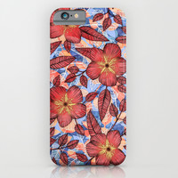 Coral Summer - a hand drawn floral pattern iPhone & iPod Case by Micklyn