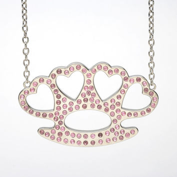 Pink Bling Heart Knuckles Pendant Necklace