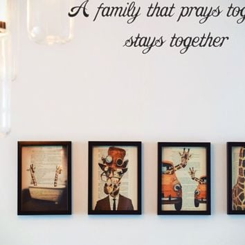 A family that prays together stays together Style 29 Vinyl Decal Sticker Removable