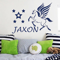 Custom Name Wall Decals Horse Pegasus Decal Nursery Girl Room Decor Vinyl MR709