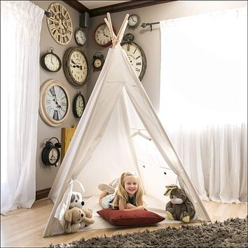 6ft White Teepee Tent Kids Indian Canvas Playhouse Sleeping Dome w/ Carrying Bag - White