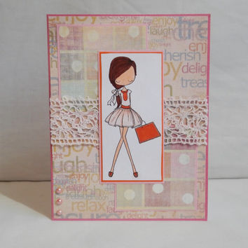 For Girls Card, Paper Handmade Greeting Card, Shopping, For Her, Girly Card, For Woman, For Little Girls, Pink and Orange, Copic Colored