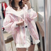 """""""Gucci"""" Women Fashion Multicolor Letter Print Long Sleeve Zip Cardigan Hooded Coat Sun Protection Clothing"""