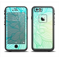 The Faded Blue & Green Subtle Floral Apple iPhone 6 LifeProof Fre Case Skin Set