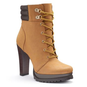 Jennifer Lopez Women's Platform High Heel Ankle Boots (Brown)