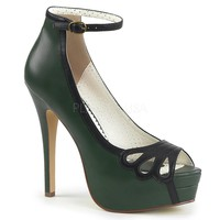 Pin Up Couture Bella Green Ankle Strap Platforms