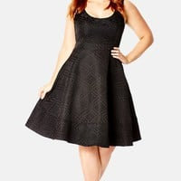 Plus Size Women's City Chic Check Jacquard Satin Fit & Flare Dress