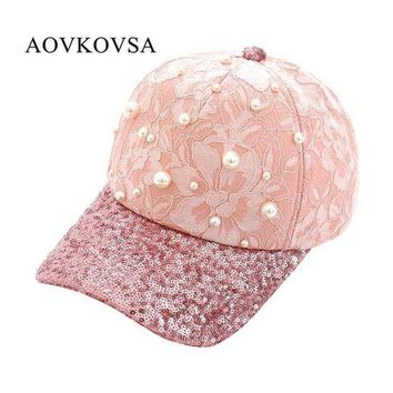 DCCKWJ7 AOVKOVSA 2017 New Fashion Big Pearl Inlay Women Baseball Cap Sequins Lace Snapback Girl Hat