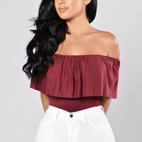 Happy Hour Bodysuit - Burgundy