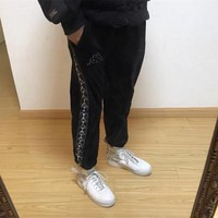 Kappa Unisex Casual Retro Stitching Logo Webbing Coral Velvet Sweatpants Couple Leisure Pants Trousers