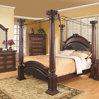 5 PC Grand Prado Collection Warm Cherry Wood Finish Poster Queen Bed