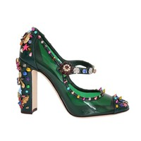 Dolce & Gabbana Green Transparent Crystal Studded Shoes