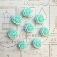 Pale Turquoise Rose Push Pins - Thumbtack - Flower Push Pins - Office Accessories - Housewares - Office - Push Pin