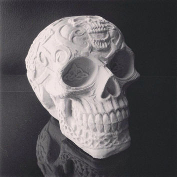 Skull Sculpture - Celtic Skull - Home Decor - Skull Ornament- Celtic Decor - Halloween Decoration - White Skull Sculpture - Macabre Decor