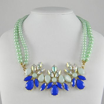Mint Green Seafoam Pearl & Royal Blue Double Strand Statement NECKLACE - Pale Green Pearls - Bridesmaid Gift - BFF Gift - Girlfriend Gift