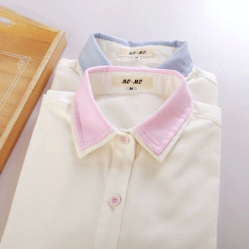 Colored Collar Long-Sleeve Button Shirt
