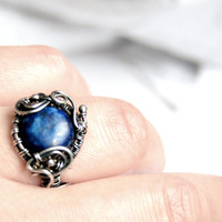 Lapis lazuli ring, wire wrapped, adjustable