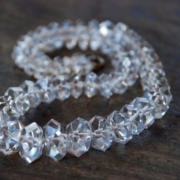 Antique Art Deco Rock Crystal Necklace Clear Quartz Graduated Hexagonal Faceted Hand Knotted Great Gatsby Wedding 1920'a // Vintage Jewelry