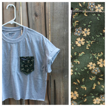 Hers Cut Off Green Floral Print Paige's Pocket Tee