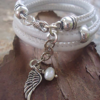 White SEWN & WING and PEARL  wrap bracelet 345