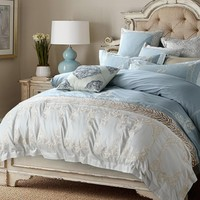 Cool Oriental Embroidery Blue Egyptian Cotton Luxury Bedding Set Queen King size Bed set Duvet Cover Bed Sheet set PillowcaseAT_93_12