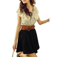 Women Dots Print Flouncing Patchwork Dress w Belt