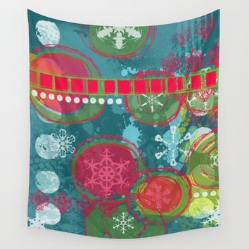 Winter, Snowflakes and Christmas Time Wall Tapestry by Bestree Art Designs