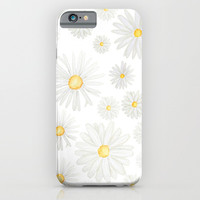 white daisy pattern watercolor iPhone & iPod Case by Color and Color