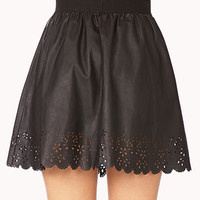 Street-Chic Laser Cut Mini Skirt