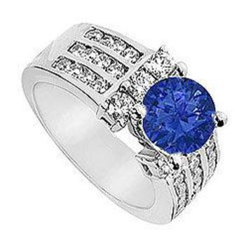 Sapphire and Diamond Engagement Ring in 14K White Gold 2.25 CT TGW