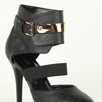 Wide Width Platform Pump with Gold Plated Ankle Cuff