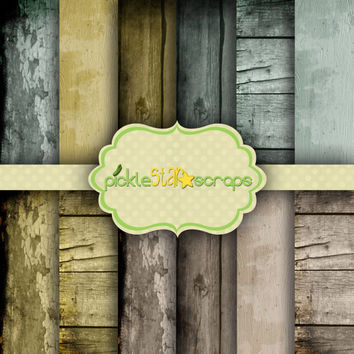 Shabby Wood Vol1 - 12 Digital Scrapbook Papers - Grunge Wood Texture - 12x12inch - Textured Backgrounds - INSTANT DOWNLOAD