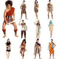 New Adult Sexy Native Indians Aboriginal Primitives Leopard Print Wild Man Woman Costumes Cosplay For Halloween Party
