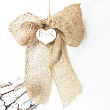 Burlap Wedding Bows With Rustic Wood Hearts - Rustic Wedding Beach Wedding Burlap Wedding Decor Set Of Six