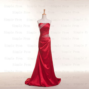 Custom Sheath Strapless Sleeveless Sweep Train Taffeta Sequins Fashion Prom Dress Bridesmaid Dress Formal Evening Dress Party Dress 2013