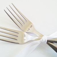 Hand Stamped Fork Set - I Do, Me Too Wedding Keepsake, Wedding Gift, Cake Forks, Engagement Gift, Under 25