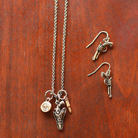 Western Cowgirl Charm Necklace and Earring Set