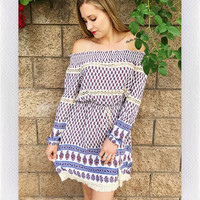 SEATON OFF SHOULDER DRESS- BLUE PAISLEY PRINT from shopoceansoul