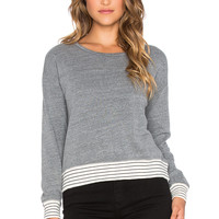 SUNDRY Striped Rib Sweatshirt in Heather Grey