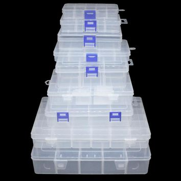 Multiple Grids Storage Plastic Box Container Case Holder Compartments Fishing Lure Hook Bait  Tackle Transparent Storage Box