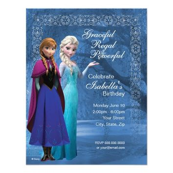 "Frozen Anna and Elsa Snowflake Birthday Invitation 4.25"" X 5.5"" Invitation Card"