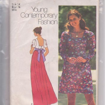 Vintage 1970s pattern for empire waist dress with pleated sleeve in day and evening lengths misses size 14 Simplicity 5469 CUT and COMPLETE