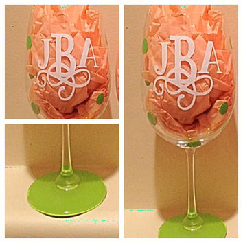 Personalized Monogram Wine Glass, Custom Wine Glass