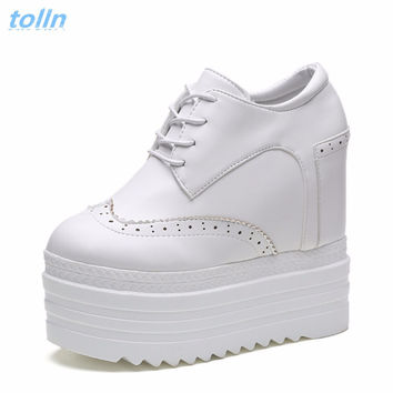 Women Casual Wedge Pumps Shoes Spring Woman Shoes 12cm High Heels Platform Women Shoes Wedge Heels Women's Elevator Casual Shoes
