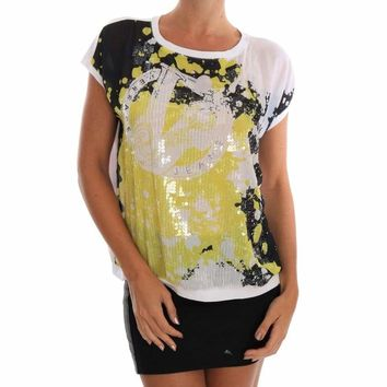 Versace Jeans White Sequined Motive Print Blouse