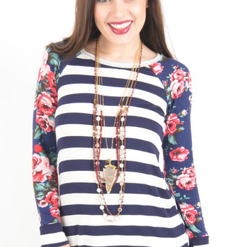 Navy and White Striped Top with Raglan Floral Sleeves